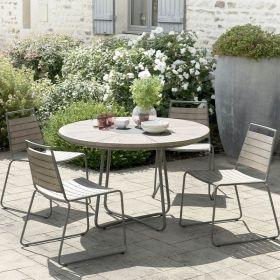 Ensemble de jardin teck grisé 4/6 pers Ø120cm Macabane HYANCINTE chaises empilables