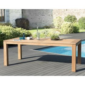 Table de jardin teck brut 6/8 pers Macabane HALICE 220 x 100 cm modèle DENVER