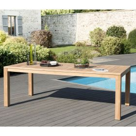 Table de jardin teck brut 6/8 pers Macabane HALICE 220 x 100 cm modèle VIESTE
