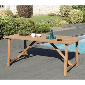 Table de jardin teck brut 6/8 pers Macabane HALICE 180 x 90 cm modèle SOHO