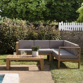 Salon de jardin en teck Macabane HALICE 5 places angle et table basse