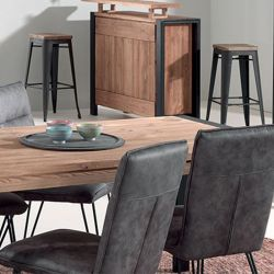 Table industrielle pin 160cm Lugano Casita LUNTA160 avec allonge