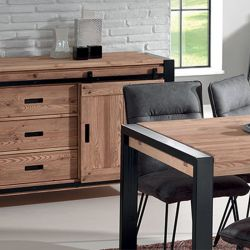 Table bois et métal 200cm Lugano Casita LUNTA200 avec allonge