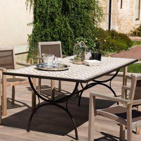 Table de jardin 6/8 pers carreaux de ciment 203cm  Macabane VICTOIRE