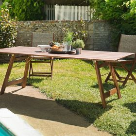 Table de jardin 6/8 pers en Acacia 220cm Macabane VICTOIRE pliante