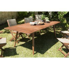 Table de jardin 8/10 pers en Acacia 180/240cm Macabane VICTOIRE extensible