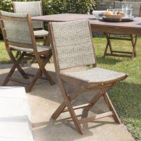 Lot 2 chaises jardin pliantes acacia et rotin synthétique Macabane VICTOIRE