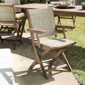 Lot 2 fauteuils de jardin pliants Acacia et rotin synthétique Macabane VICTOIRE