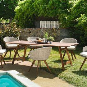 Ensemble de jardin acacia 6/8 pers Macabane VICTOIRE table pliante et fauteuils