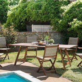 Ensemble de jardin acacia 6/8 pers Macabane VICTOIRE chaises et fauteuils pliants