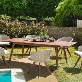 Ensemble de jardin acacia 8/10 pers Macabane VICTOIRE table extensible et fauteuils
