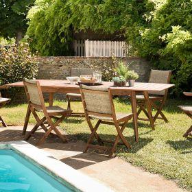 Ensemble de jardin acacia 8/10 pers Macabane VICTOIRE chaise et fauteuils pliants