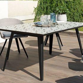 Table de jardin 4/6 pers carreaux de ciment 162cm Macabane VICTOIRE