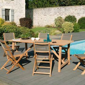 Ensemble de jardin teck brut 6/8 pers Macabane HALICE modèle SOHO et chaises pliantes