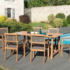 Ensemble de jardin teck brut 6/8 pers Macabane HALICE modèle SOHO et chaises empilables