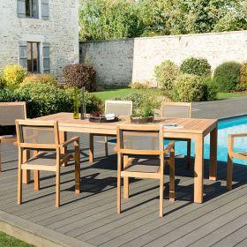 Ensemble de jardin teck brut 6/8 pers Macabane HALICE modèle VIESTE et chaises empilables
