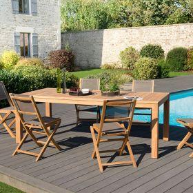 Ensemble de jardin teck brut 6/8 pers Macabane HALICE modèle VIESTE et chaises pliantes