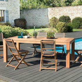 Ensemble de jardin teck brut 6/8 pers Macabane HALICE modèle DENVER et chaises pliantes