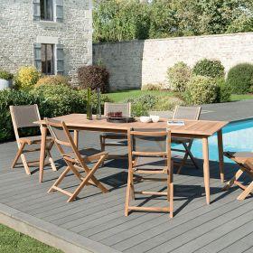 Ensemble de jardin teck brut 6/8 pers Macabane HALICE modèle Scandi et chaises pliantes