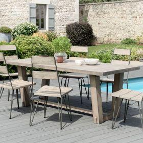 Ensemble de jardin teck grisé pieds bois 6/8 pers Macabane HYANCINTE chaises Scandi