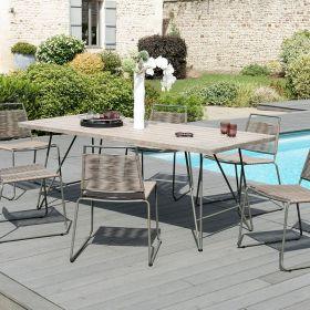 Ensemble de jardin teck grisé 6/8 pers Macabane HYANCINTE chaises cordage