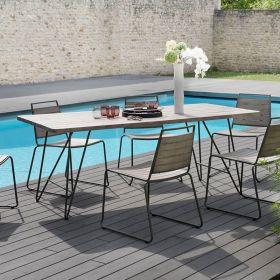 Ensemble de jardin teck grisé 6/8 pers Macabane HYANCINTE chaises empilables