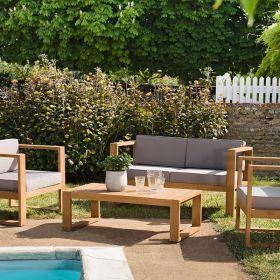 Salon de jardin en teck Macabane HALICE 4 places et table basse