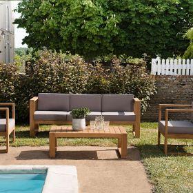 Salon de jardin en teck Macabane HALICE 5 places et table basse