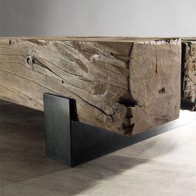 Table basse teck acier 160cm Macabane TRAVERSE