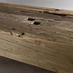 Table basse teck brut 160cm Macabane TRAVERSE