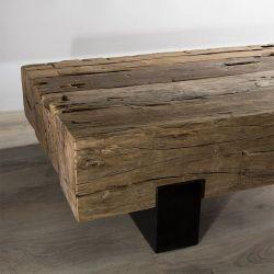 Table basse teck ancien 160cm Macabane TRAVERSE