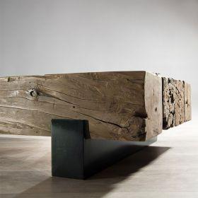 Table basse teck originale 160cm Macabane TRAVERSE