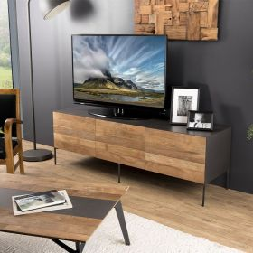 Meuble TV Teck recyclé métal 166cm Macabane MADISON