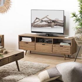 Meuble TV scandi bois 165cm Sapin Macabane ANDREW