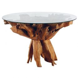Table racine de teck 120cm Roots Casita ROOTAR120V avec verre