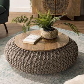 Table basse manguier et coton ∅80cm Macabane IRENE