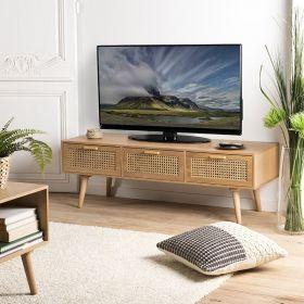 Meuble TV cannage 3 tiroirs 120cm Macabane ROMEO