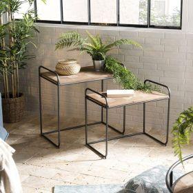 Tables d'appoint gigognes sapin marqueté et métal 60cm Macabane HABY