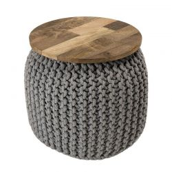 Tabouret original bois et coton ∅40cm Macabane IRENE