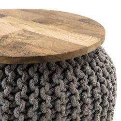 Tabouret rond bois et coton ∅40cm Macabane IRENE
