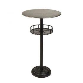 Table de bar industrielle Zinc et métal ∅58cm Macabane HABY