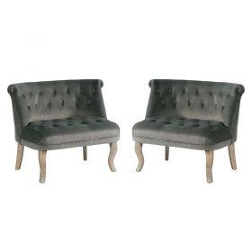 Lot de 2 fauteuils tissu gris Casita FAUDENGRIS