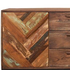 Buffet ethnique bois et métal 2 portes 139cm RITA