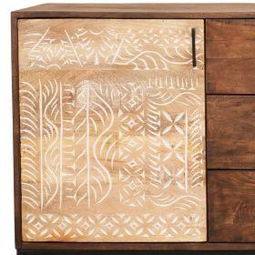 Buffet ethnique bois et métal 2 portes 139cm NOA