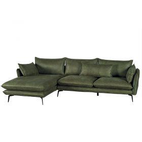 Canapé d'angle tissu kaki 280cm EDEN Casita EDANGKAMI6RG retour gauche