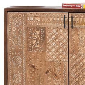 bahut 2 portes bois et métal 88cm NOA