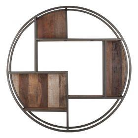 Etagère murale ronde bois et métal 100cm SWIN d-bodhi