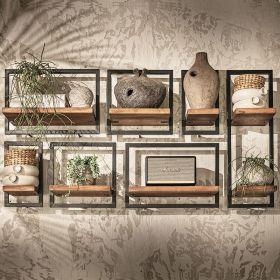 Étagères murales en bois de teck massif et métal Shelfmate 145cm