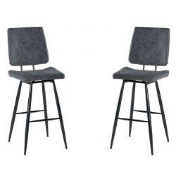 Lot de 2 chaises de bar polyester Casita CHABAR 100GRI