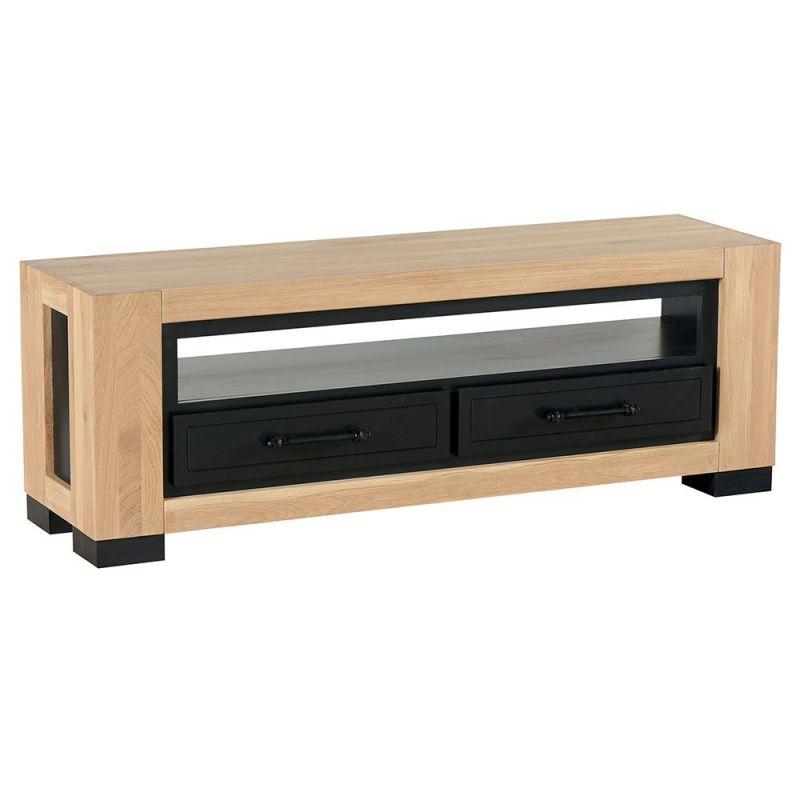 Meuble TV chêne 140cm 2 tiroirs Cleveland Casita CLETV20